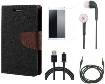 Poonam Cover Accessory Combo for Micromax Canvas 2 A110(Brown, Black)