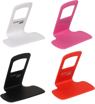 Riona 4 Pcs Wall Mobile Phone Holder/Shelf/Stand/Rack - Mobihold Eco Assorted Accessory Combo(Black, Red, White, Pink)