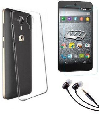 Mocell Soft Back Cover For Micromax Canvas Xpress 2 E313 With Ultra Clear Screen Guard & 3.5mm Earphone Accessory Combo(Transparent)
