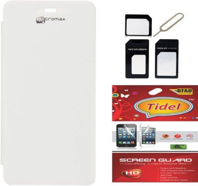 Tidel Flip Cover For Micromax A092 Unite With Multi Sim Adapter&Screen Guard Accessory Combo(White)