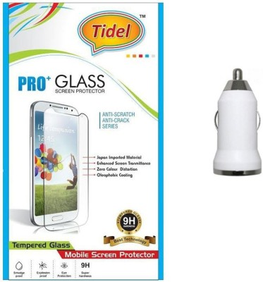 Tidel 2.5D Curved Tempered Glass Screen Guard Protector For Micromax Canvas Juice A77 With USB Car Charger Adapter Accessory Combo(Transparent)