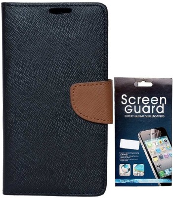 Coverage Coverage Flip cover with Screen Guard for Samsung Galaxy S Duos S7562 Black::Brown Accessory Combo(Black, Brown)