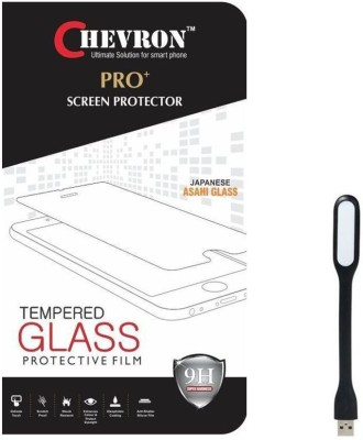 Chevron 0.3mm Pro Tempered Glass Screen Protector For Alcatel OneTouch Flash 2 With Mini USB LED Light Lamp Accessory Combo(Transparent)