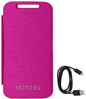 TBZ Flip Cover Case for Motorola Moto E2 2nd Gen with Data Cable Accessory Combo Pink