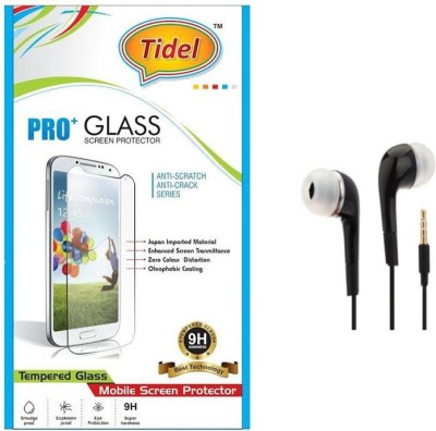 Tidel 0.3mm Tempered Glass Screen Guard Protector For Lenovo K3 Note With HandsFree EarPhone Accessory Combo(Transparent)