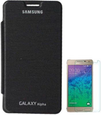 TBZ Flip Cover Case For Samsung Galaxy Alpha G850 with Screen Guard Accessory Combo(Black)