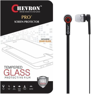 Chevron 0.3mm Pro Tempered Glass Screen Protector For Alcatel OneTouch Flash 2 With 3.5mm Pro Stereo Earphones Accessory Combo(Transparent)
