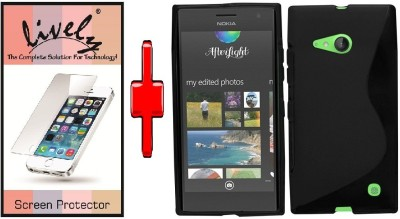 Lively Screen Protector Accessory Combo for Nokia Lumia 730(Black)