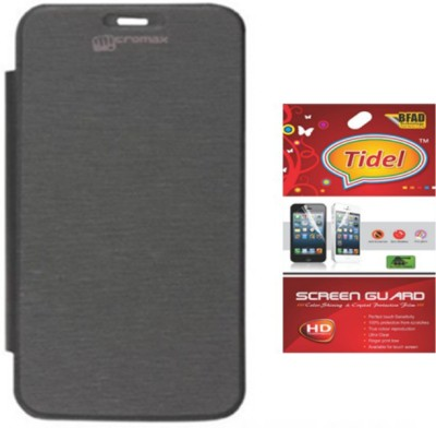 Tidel Flip Cover For Micromax Canvas Magnus A117 With Screen Guard Accessory Combo(Black)