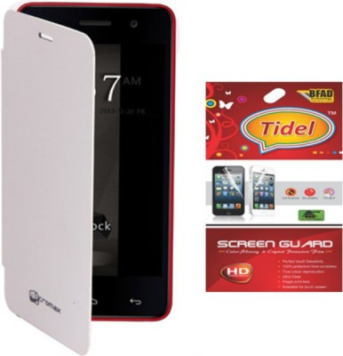 Tidel Flip Cover Case For Micromax Canvas Turbo Mini A200 with screen guard Accessory Combo(White)