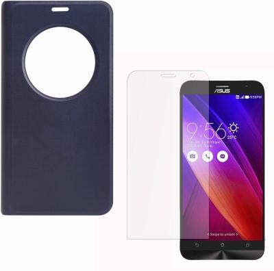 DMG Premium Leather Quick Circle View Flip Book Cover Case for Asus Zenfone 2 (Pebble Blue) and Matte Anti-Glare Screen Protector Accessory Combo(Pebble Blue)