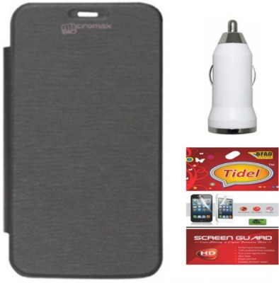 Tidel Flip Cover for Micromax Canvas Entice A105 with usb car charger &screen guard Accessory Combo(Black)