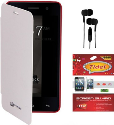 Tidel Flip Cover for Micromax Canvas Entice A105 with 3.5mm Stereo Earphones &screen guard Accessory Combo(White)