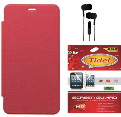 Tidel Flip Case Cover for Micromax Canvas Xpress A99 with 3.5mm Stereo Earphones & Screen Guard Accessory Combo(Red)