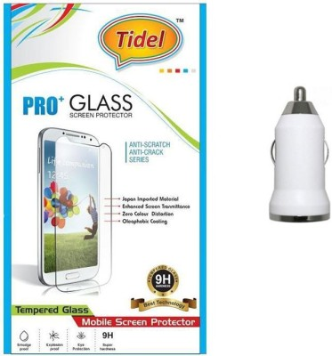 Tidel Tidel 2.5D Curved Tempered Glass Screen Guard Protector For Micromax Canvas Elanza 2 A121 With USB Car Charger Adapter Accessory Combo(Transparent)