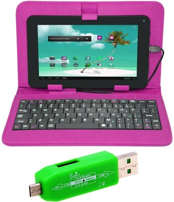 finest Universal 7 inch Tablet Keyboard Case and OTG Smart Card Reader Accessory Combo Pink finest Mobiles Accessories Combos