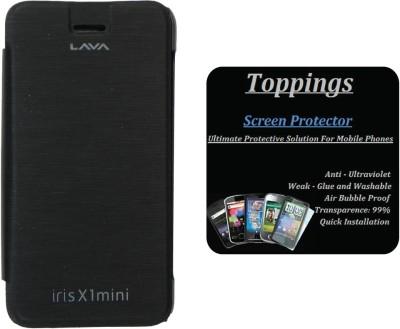 Toppings Flip Cover With Screen Guard For Lava Iris X1 mini Accessory Combo(Black)