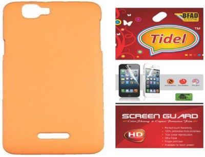 Tidel Back Cover With Screen Guard For Micromax Canvas 2 Colors A120 Accessory Combo(Orange)