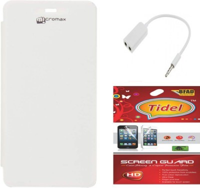 Tidel Flip Cover For Micromax A092 Unite With 3.5mm Stereo Earphones&Screen Guard Accessory Combo(White)