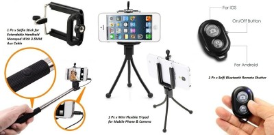 De-TechInn Selfie Stick Accessory Combo for Extendable Handheld Monopod With 3.5MM Aux Cable with Bluetooth Wireless Remote Shutter Selfie Stick and Universal Flexible Mini Tripod Stand for Mobiles, Webcam(Multi-color) Flipkart