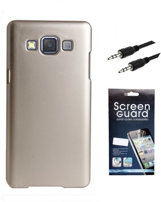 Coverage Coverage Back Cover + Screen Protector + 3.5 MM Auxiliary Cable For Samsung Galaxy S3 Neo GT I9300I - Golden Accessory Combo(Gold)