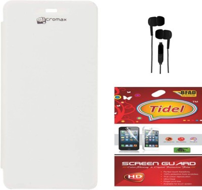 Tidel Flip Cover For Micromax A092 Unite With Audio Splitter&Screen Guard Accessory Combo(White)