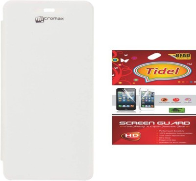 Tidel Flip Cover for Micromax A092 Unite\n With Screen Guard Accessory Combo(White)