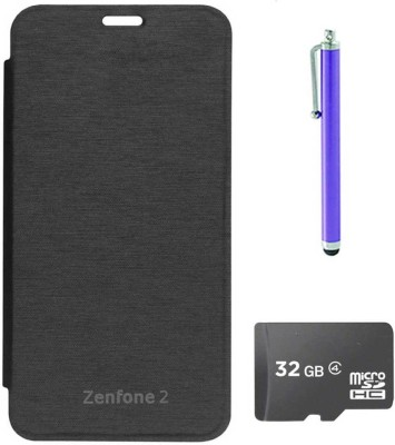 TBZ Flip Cover Case for Asus Zenfone 2  with Stylus and 32GB MicroSD Accessory Combo(Black)