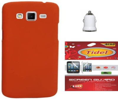 Tidel Back Cover With Screen Guard & Usb Car Charger For Samsung Galaxy Grand Duos i9082 Accessory Combo(Orange)