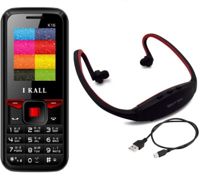 IKall K16 with MP3/FM Player Neckband(Black & Red)