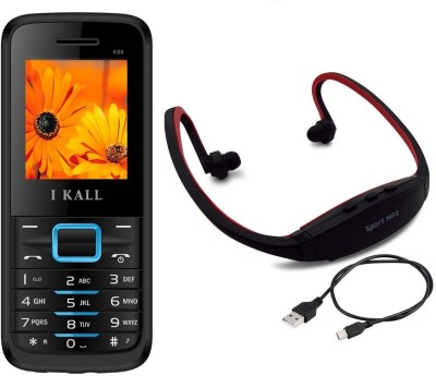 IKall K88 with MP3/FM Player Neckband(Black & Blue)