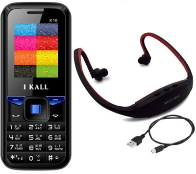 I Kall K16 with MP3/FM Player Neckband(Black & Blue) 1