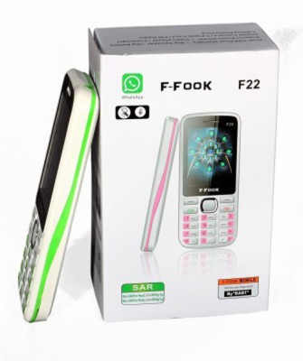 F-Fook F22 FM With Recording 1 MB RAM 1MP Camera With Flash Dual Sim Mobile(White&Green)