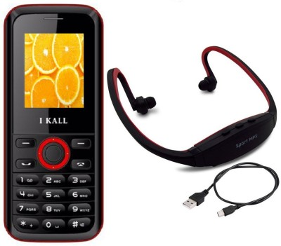 I Kall K18 with MP3/FM Player Neckband(Black & Red) 1