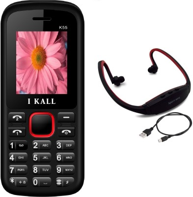 IKall K55 with MP3/FM Player Neckband(Black & Red)