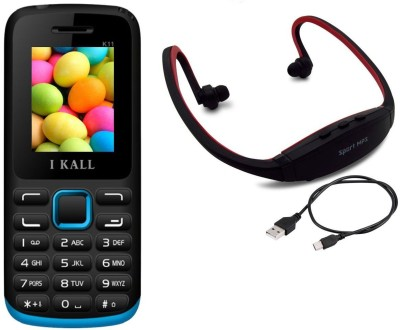 IKall K11 with MP3/FM Player Neckband(Black & Blue)