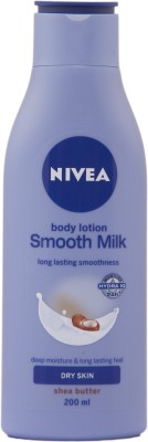 Nivea Body Lotion Smooth Milk Dry Skin Shea Butter(200 ml)  available at flipkart for Rs.209