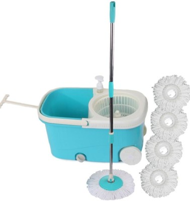 Cherrylite Easy Spin Blue Bucket With Wheels and Extra 4 Mop Refill Mop Set(Built in Wringer Blue) at flipkart