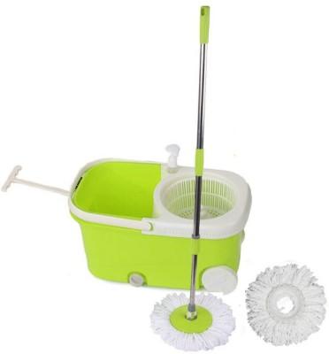 Cherrylite Smart Magic Spin Green Bucket With Wheels & Extra 1 Refills Mop Set(Built in Wringer Green) at flipkart