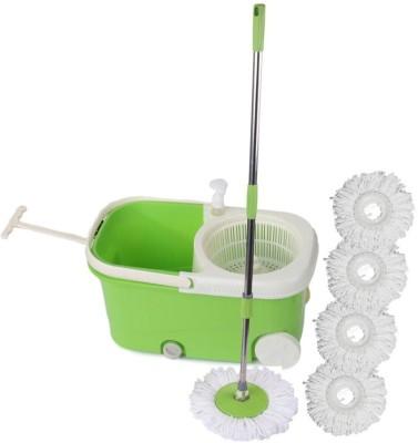 Cherrylite Smart Magic Spin Green Bucket With Wheels & Extra 4 Refills Mop Set(Built in Wringer Green) at flipkart