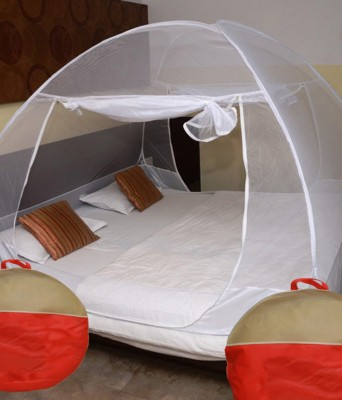 Libra Polyester Fibre Adults Double Bed Foldable Mosquito Net(White)