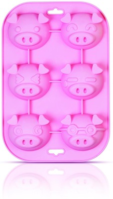 SiliconeZone Silicone Zone - Piggy Silicone Bakeware Muffin Mould - Pink 6 - Cup Mould Tray(Pack of 1) at flipkart