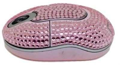 Shrih Scroll Wheel Pink Crystal Rhinestone M Wireless Optical Mouse USB, Pink
