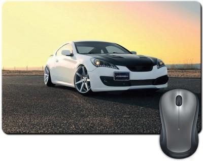 ShopMantra White and Grey Sports Car Mousepad Multicolor