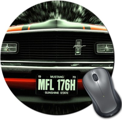 Rangeele Inkers Black Mustang Cool Round Mousepad Multicolor