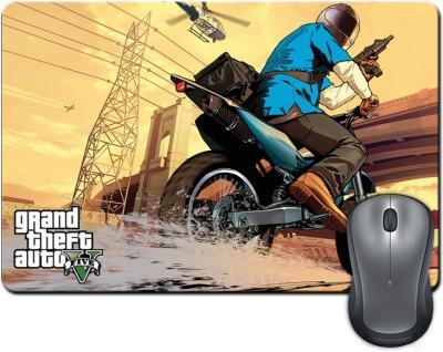 ShopMantra Grand Theft Auto Five Biker Mousepad Multicolor