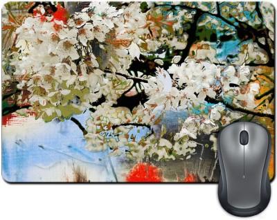 ShopMantra Beautiful Flowers Canvas Paint Mousepad Multicolor