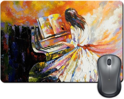 ShopMantra Girl Playing Piano Brush Painting Mousepad Multicolor