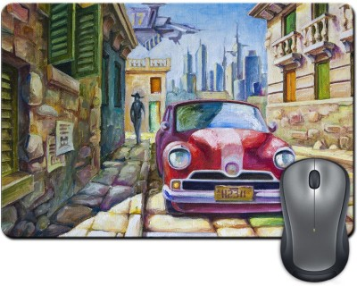 ShopMantra Vintage Car On Street Crayon Painting Mousepad Multicolor