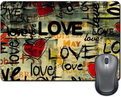 ShopMantra Love Typography Letters Design Mousepad Multicolor